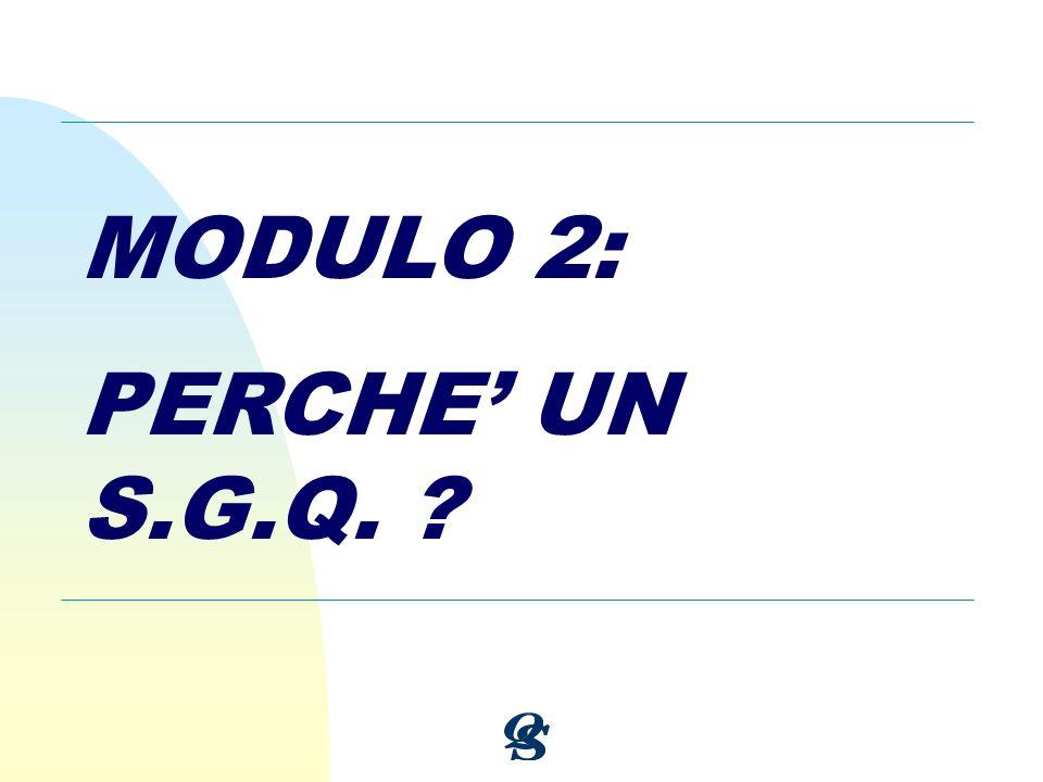 MODULO 2: PERCHE' UN S.G.Q.