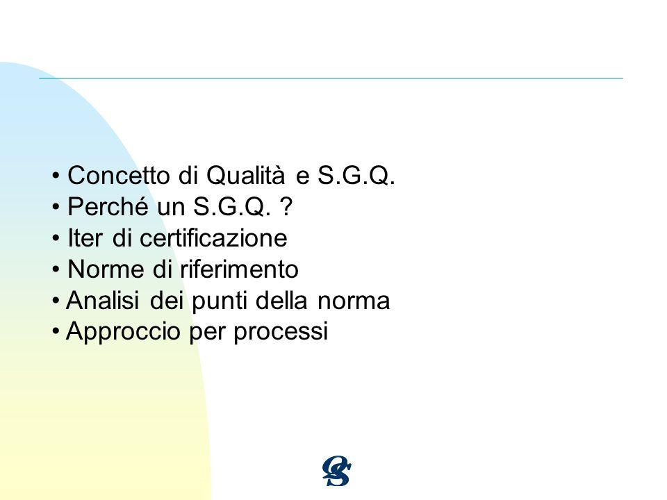 Concetto di Qualità e S.G.Q.