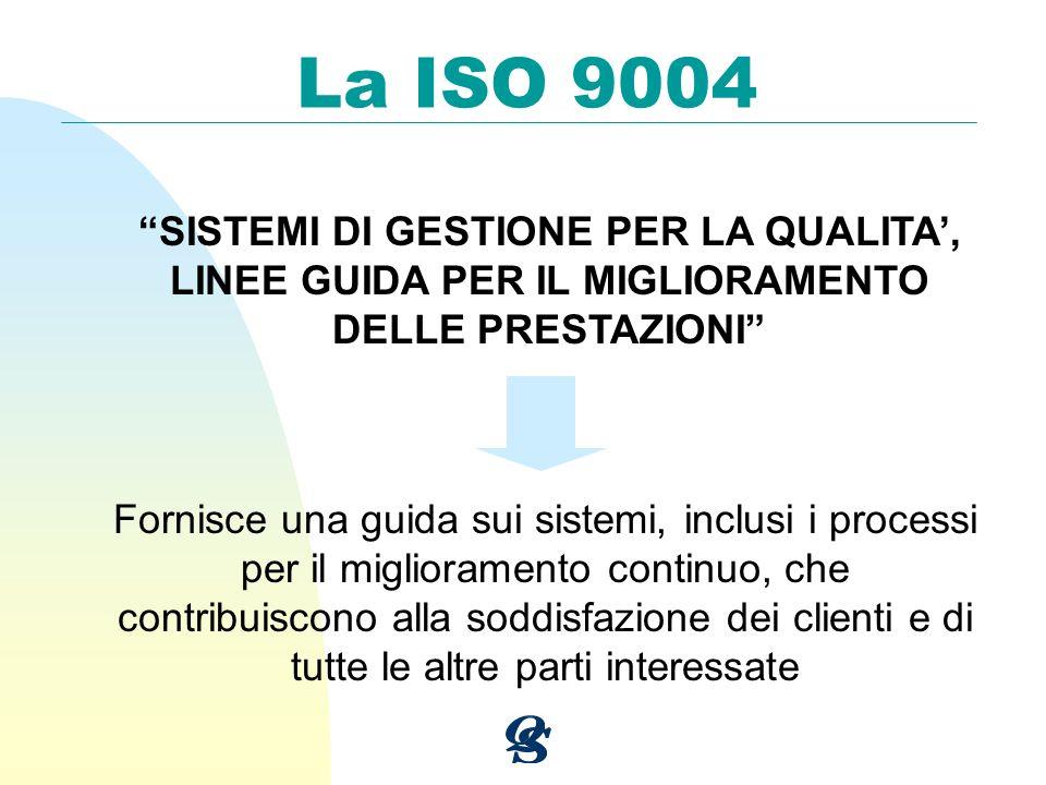 La ISO 9004 SISTEMI DI GESTIONE PER LA QUALITA', LINEE GUIDA PER IL MIGLIORAMENTO DELLE PRESTAZIONI