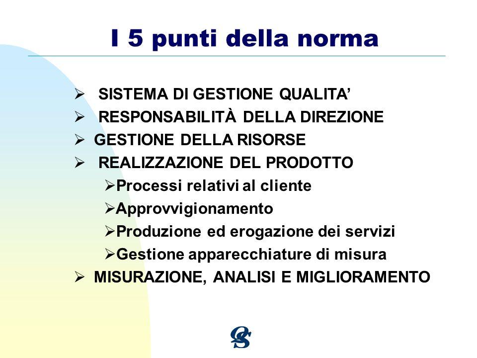 I 5 punti della norma SISTEMA DI GESTIONE QUALITA'