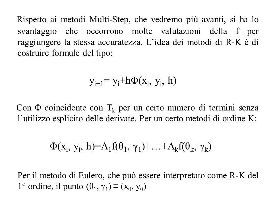 Rispetto ai metodi Multi-Step, che vedremo più avanti, si ha lo svantaggio che occorrono molte valutazioni della f per raggiungere la stessa accuratezza. L'idea dei metodi di R-K è di costruire formule del tipo: