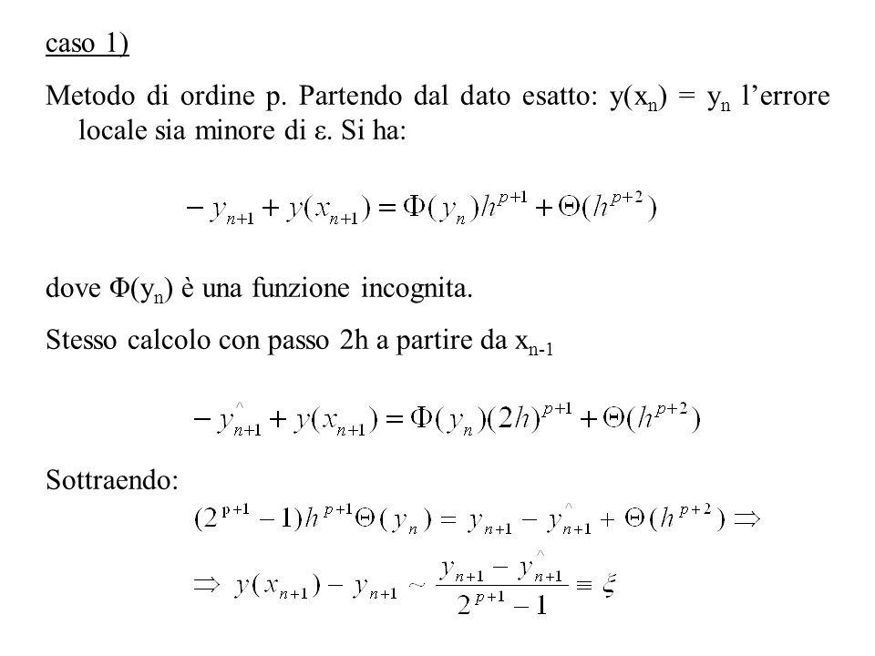 caso 1)Metodo di ordine p. Partendo dal dato esatto: y(xn) = yn l'errore locale sia minore di ε. Si ha: