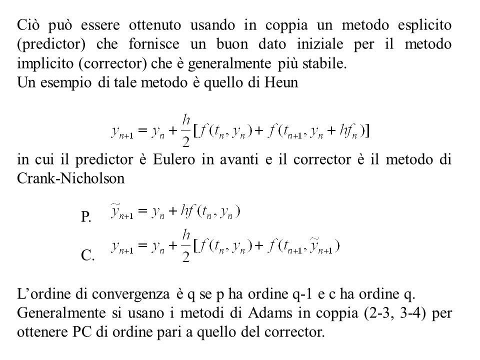 Ciò può essere ottenuto usando in coppia un metodo esplicito (predictor) che fornisce un buon dato iniziale per il metodo implicito (corrector) che è generalmente più stabile.