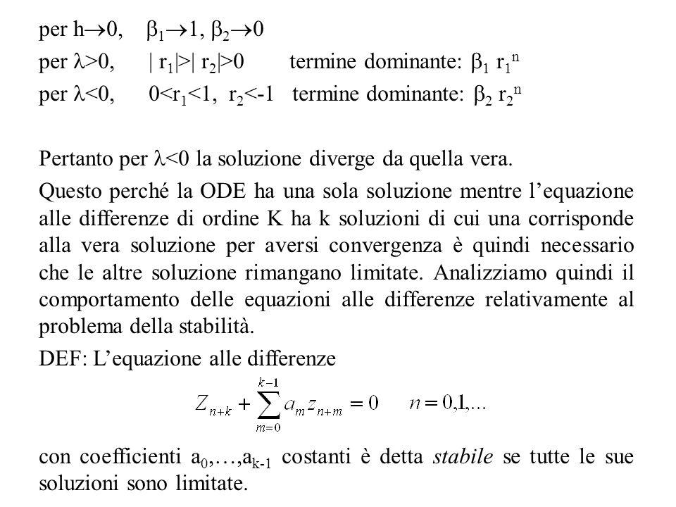 per h0, 11, 20 per >0, | r1|>| r2|>0 termine dominante: 1 r1n. per <0, 0<r1<1, r2<-1 termine dominante: 2 r2n.
