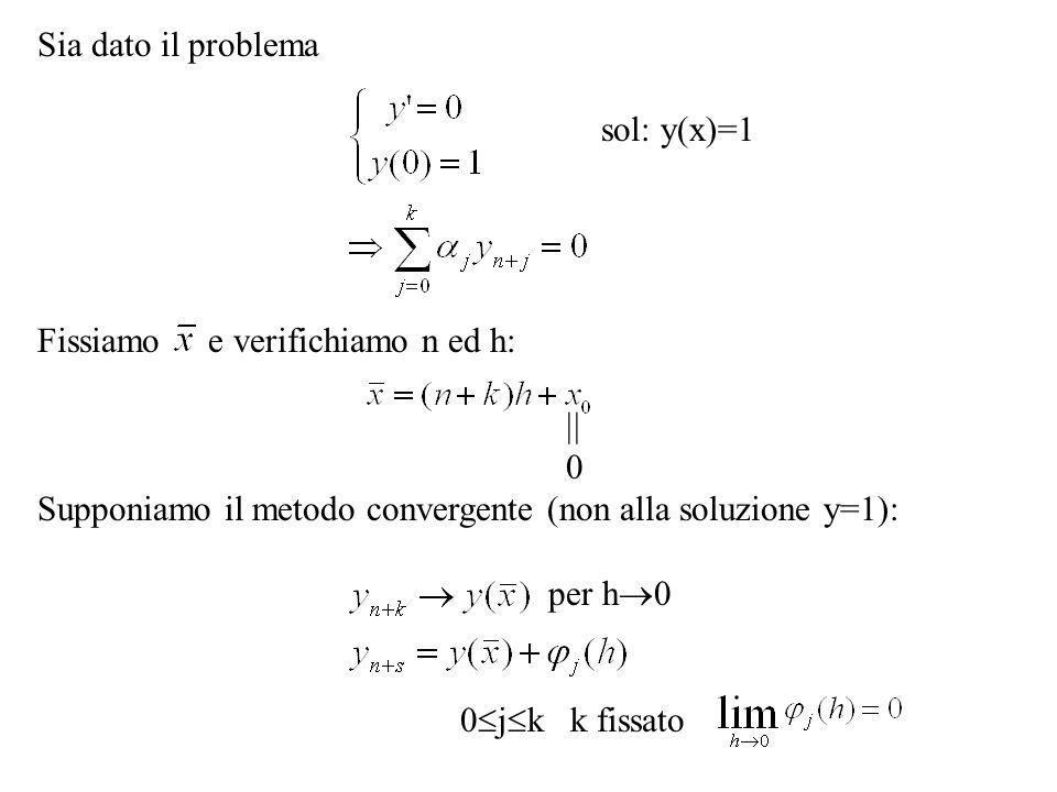 Sia dato il problema sol: y(x)=1. Fissiamo e verifichiamo n ed h:  Supponiamo il metodo convergente (non alla soluzione y=1):