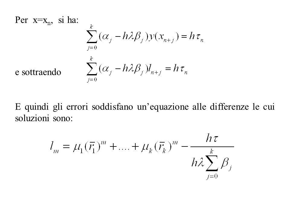 Per x=xn, si ha: e sottraendo.