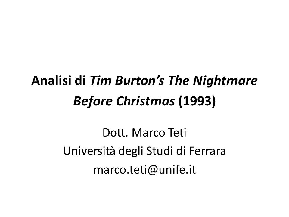 Analisi di Tim Burton's The Nightmare Before Christmas (1993)