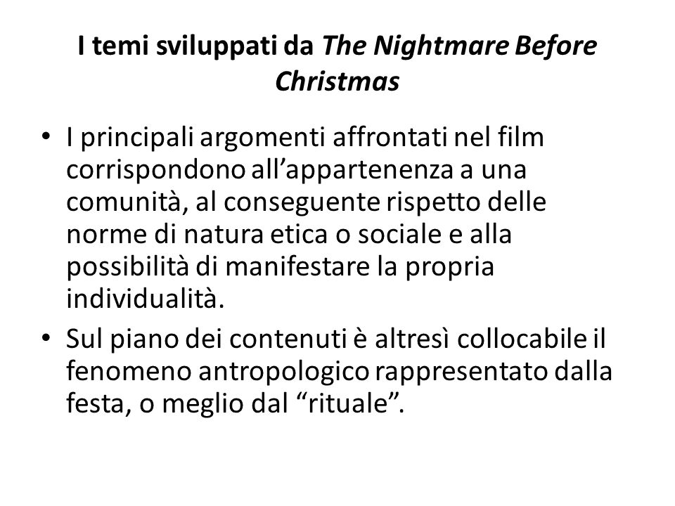I temi sviluppati da The Nightmare Before Christmas