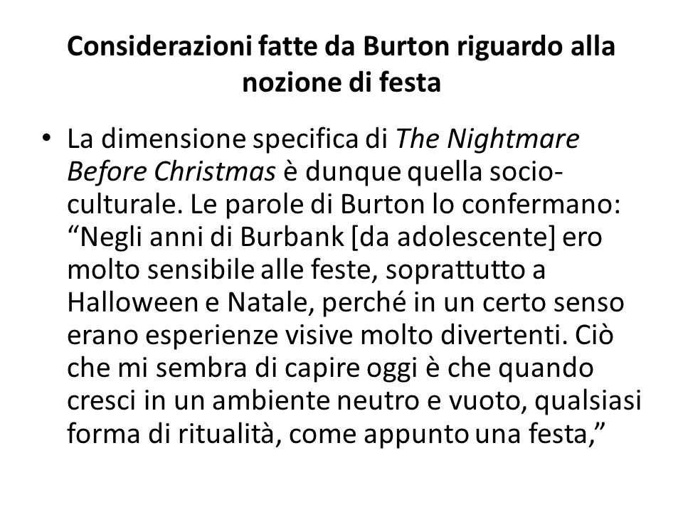 Considerazioni fatte da Burton riguardo alla nozione di festa