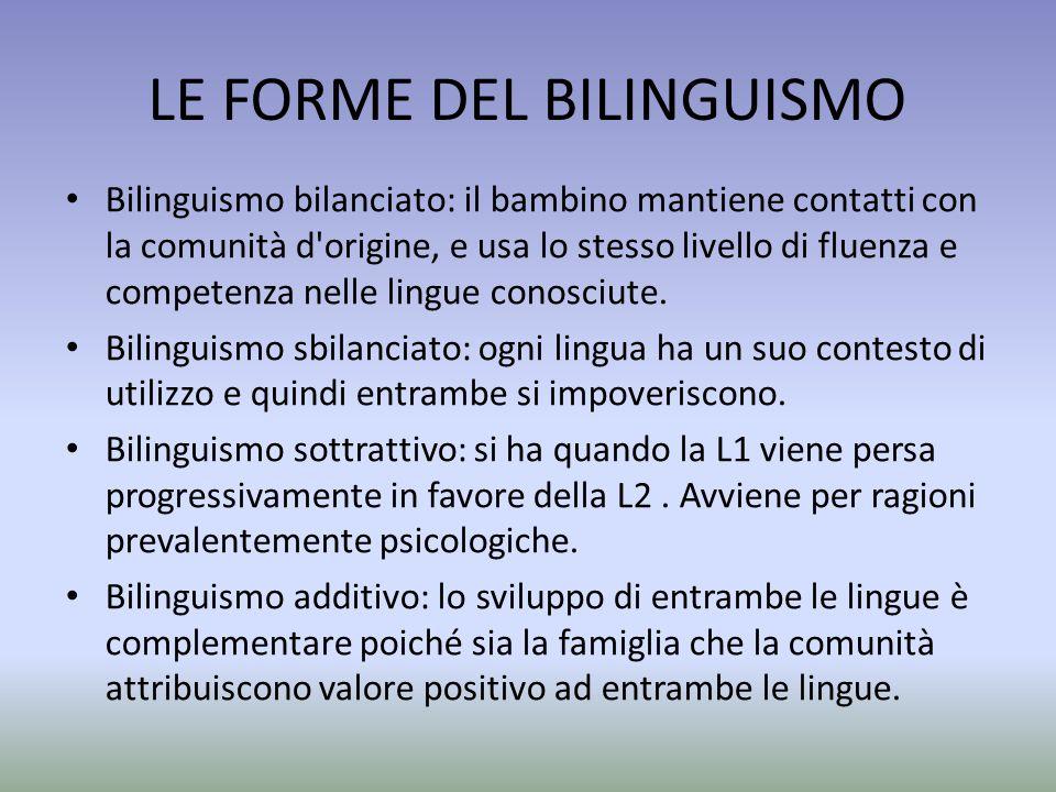 LE FORME DEL BILINGUISMO