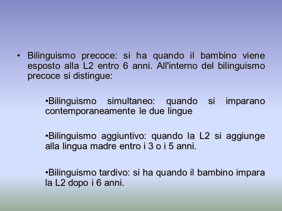 Bilinguismo precoce: si ha quando il bambino viene esposto alla L2 entro 6 anni. All interno del bilinguismo precoce si distingue: