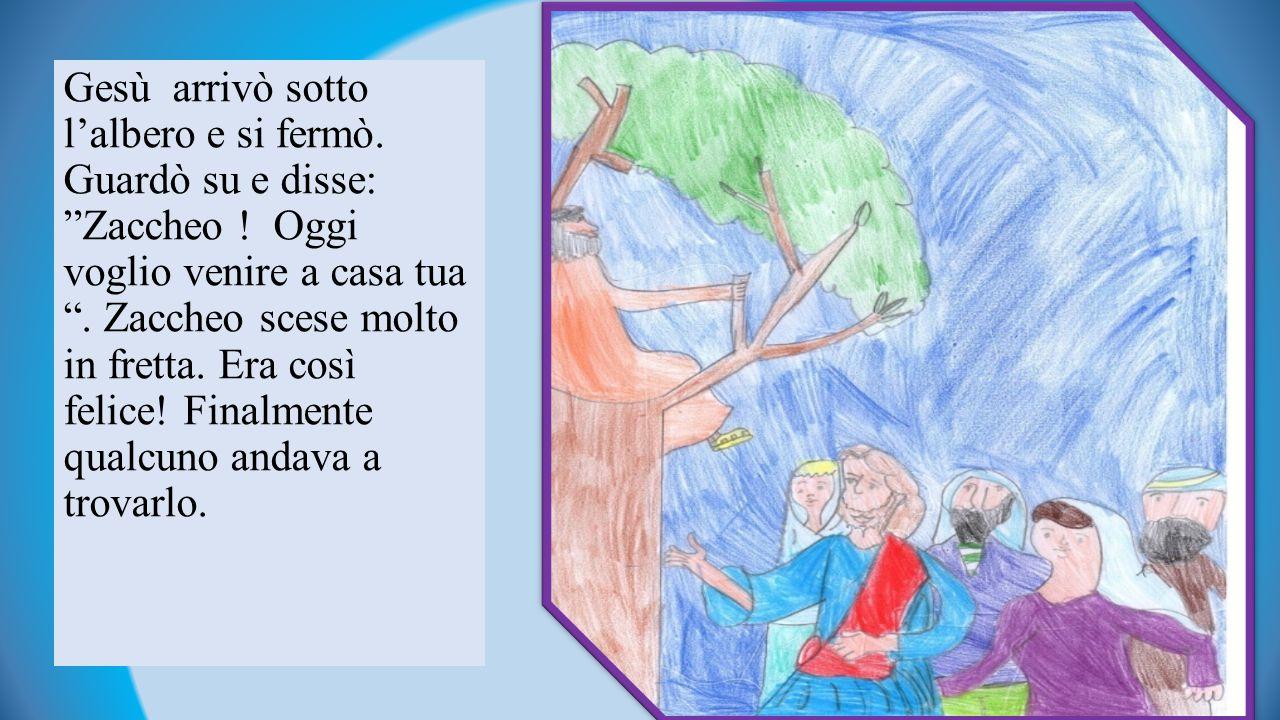 Gesù arrivò sotto l'albero e si fermò. Guardò su e disse: Zaccheo
