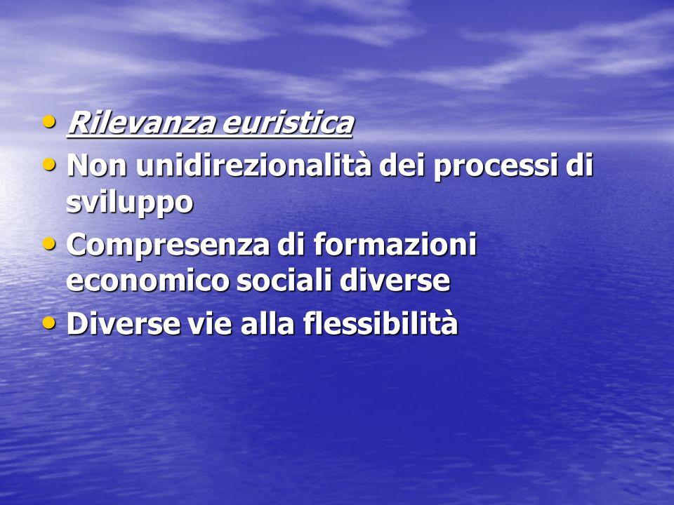 Rilevanza euristica Non unidirezionalità dei processi di sviluppo. Compresenza di formazioni economico sociali diverse.