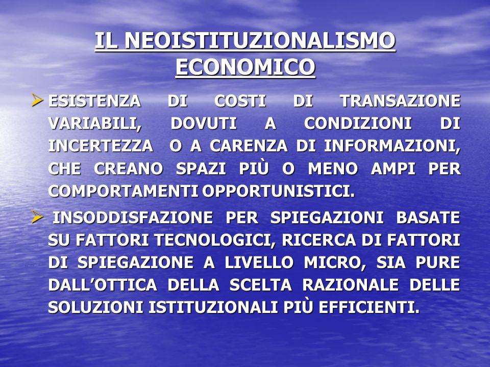 IL NEOISTITUZIONALISMO ECONOMICO