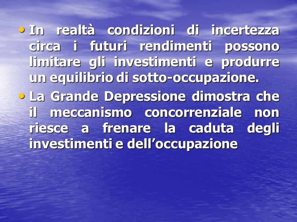 In realtà condizioni di incertezza circa i futuri rendimenti possono limitare gli investimenti e produrre un equilibrio di sotto-occupazione.