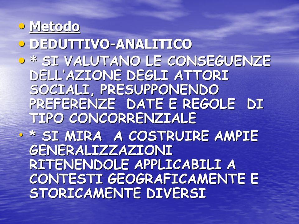 Metodo DEDUTTIVO-ANALITICO.