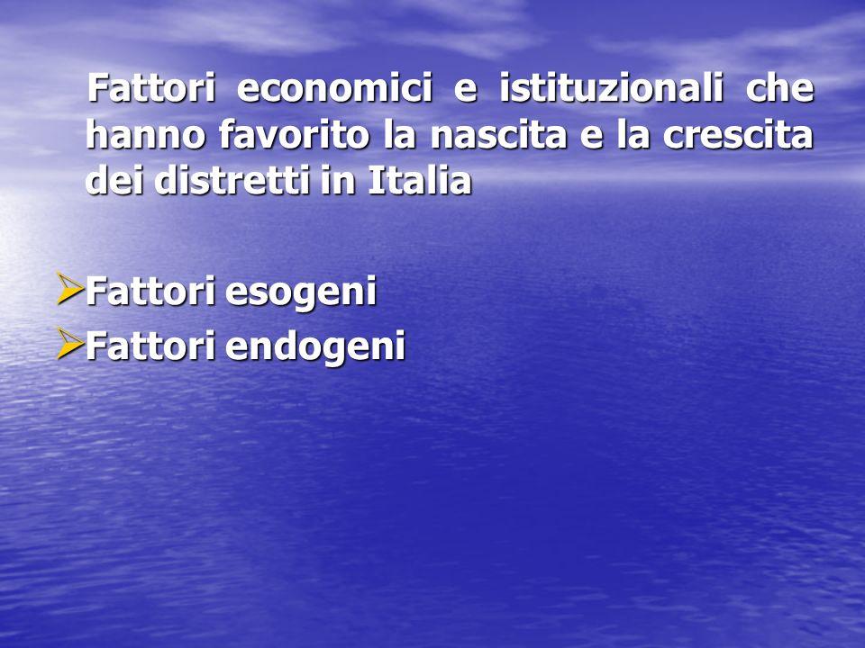 Fattori economici e istituzionali che hanno favorito la nascita e la crescita dei distretti in Italia