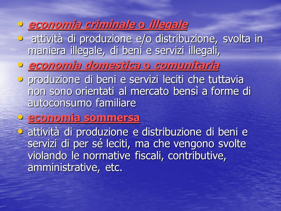 economia criminale o illegale