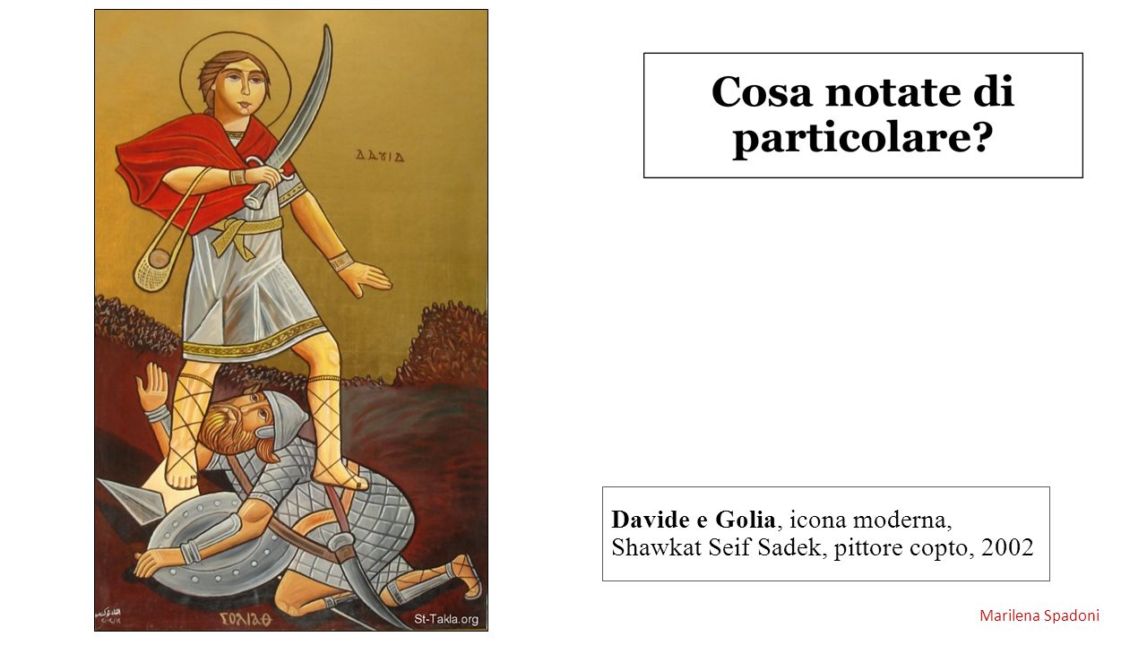 Davide e Golia, icona moderna, Shawkat Seif Sadek, pittore copto, 2002