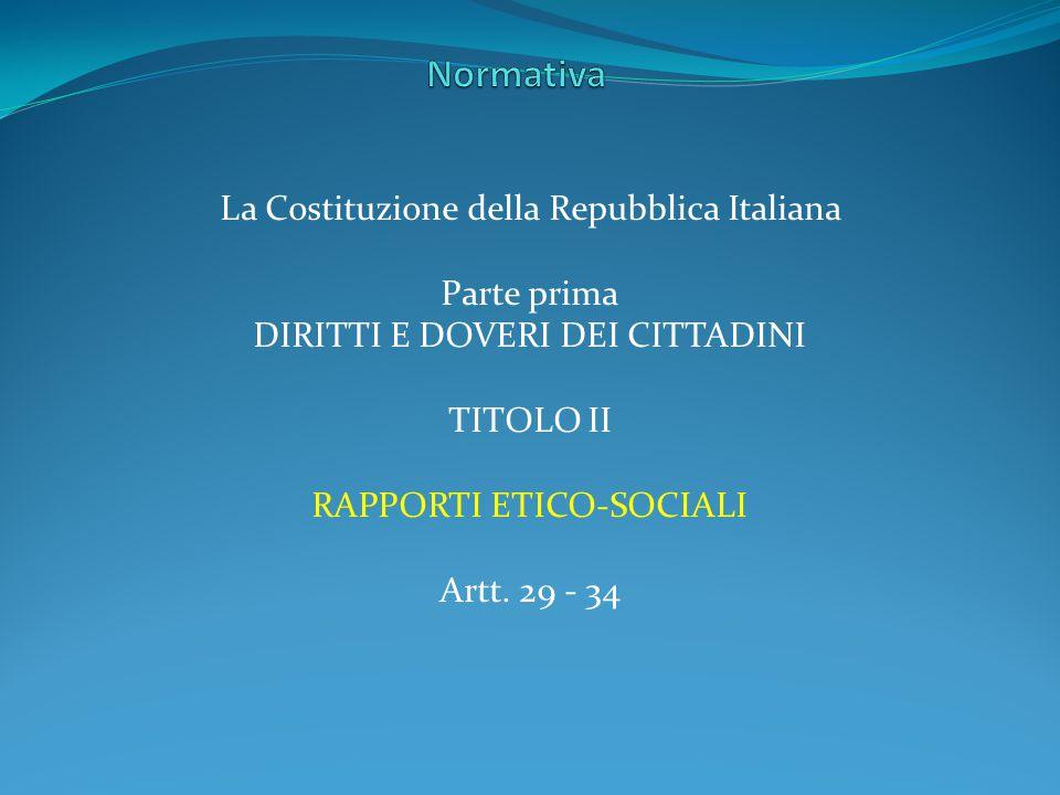 Normativa La Costituzione della Repubblica Italiana Parte prima