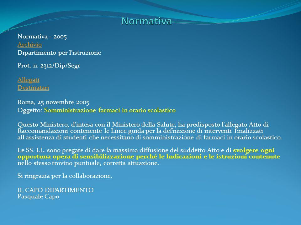 Normativa Normativa - 2005 Archivio