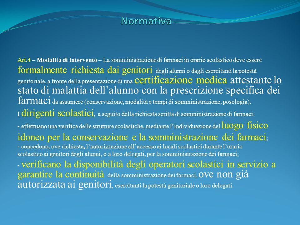 Normativa Art.4 – Modalità di intervento – La somministrazione di farmaci in orario scolastico deve essere.
