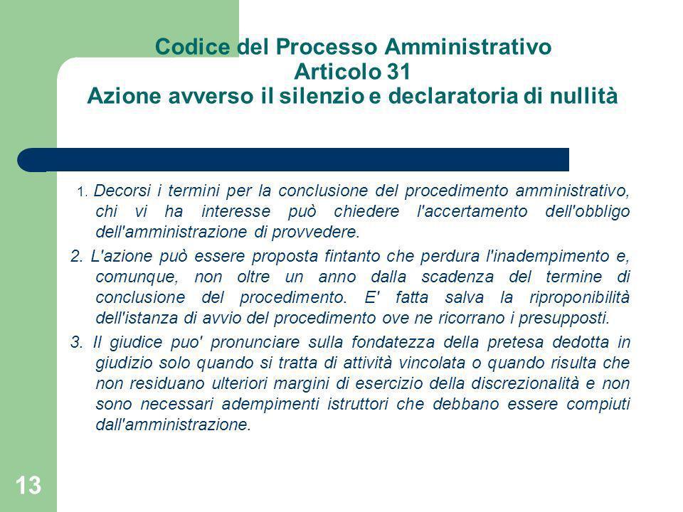 Codice del Processo Amministrativo Articolo 31 Azione avverso il silenzio e declaratoria di nullità