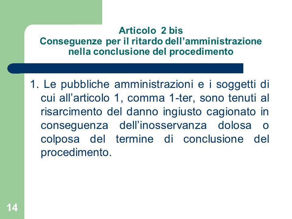 Articolo 2 bis Conseguenze per il ritardo dell'amministrazione nella conclusione del procedimento