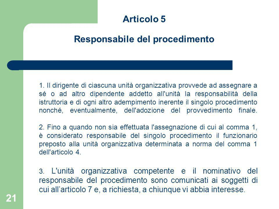 Articolo 5 Responsabile del procedimento