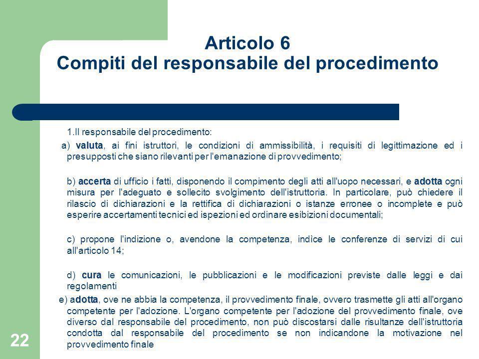 Articolo 6 Compiti del responsabile del procedimento