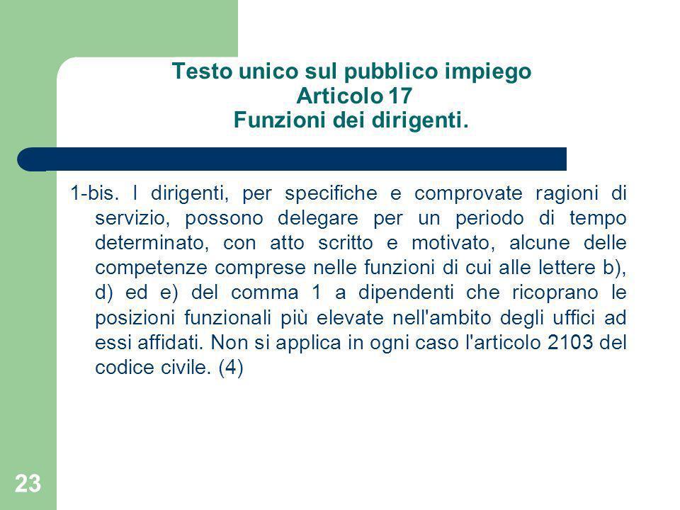 Testo unico sul pubblico impiego Articolo 17 Funzioni dei dirigenti.