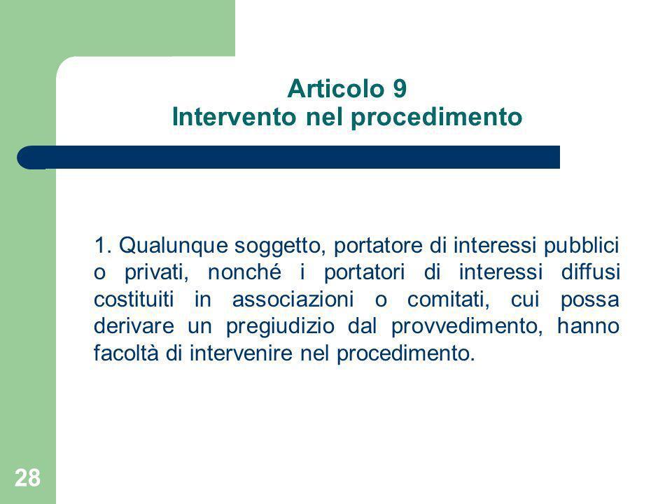Articolo 9 Intervento nel procedimento