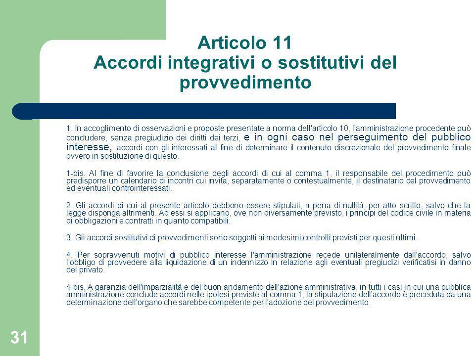 Articolo 11 Accordi integrativi o sostitutivi del provvedimento
