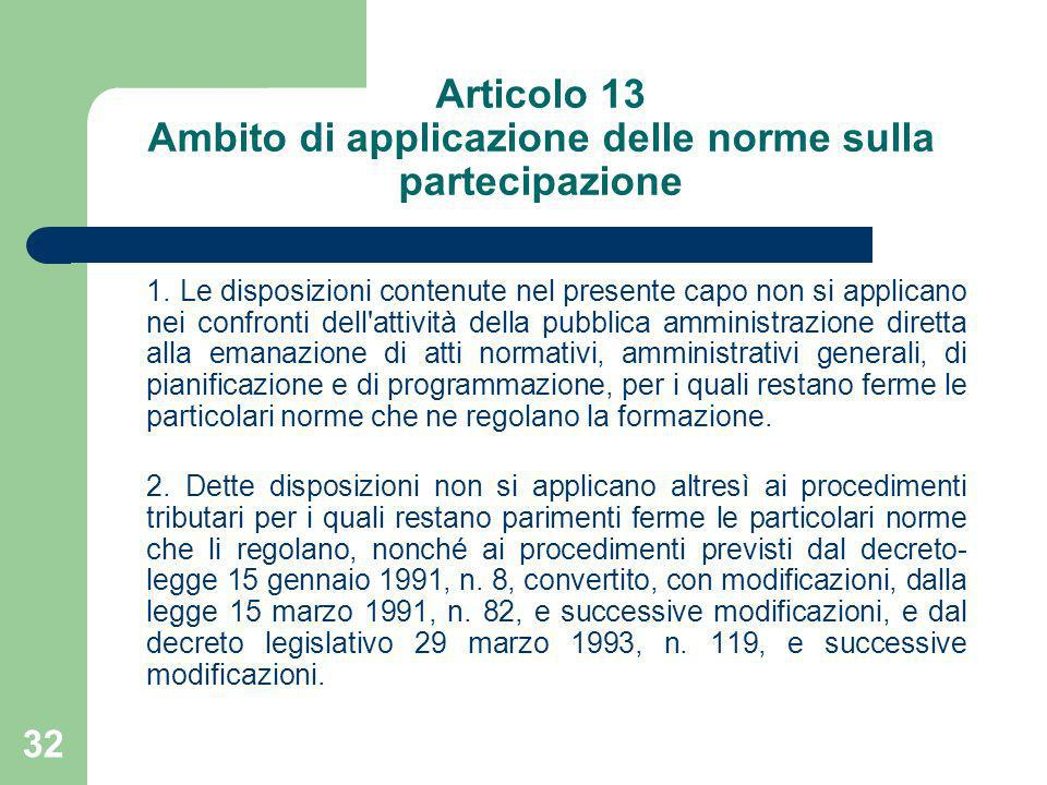 Articolo 13 Ambito di applicazione delle norme sulla partecipazione