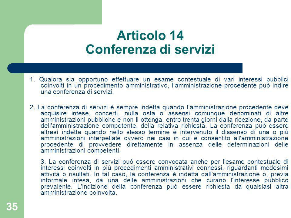 Articolo 14 Conferenza di servizi