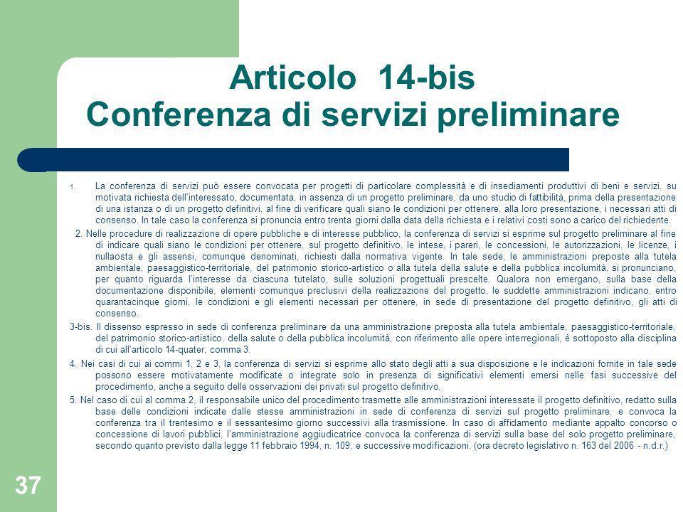 Articolo 14-bis Conferenza di servizi preliminare