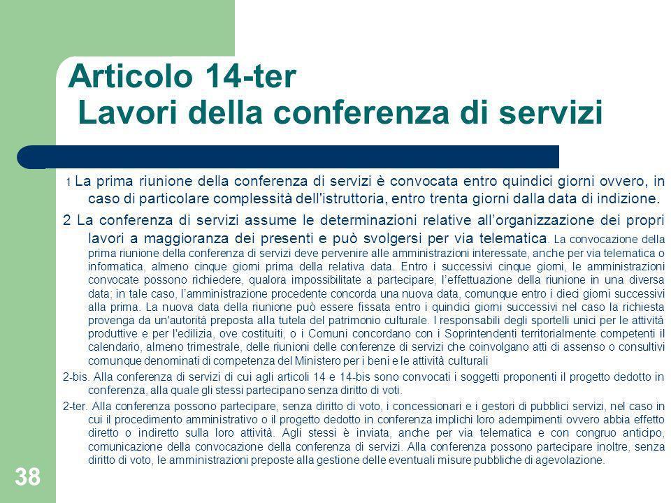 Articolo 14-ter Lavori della conferenza di servizi