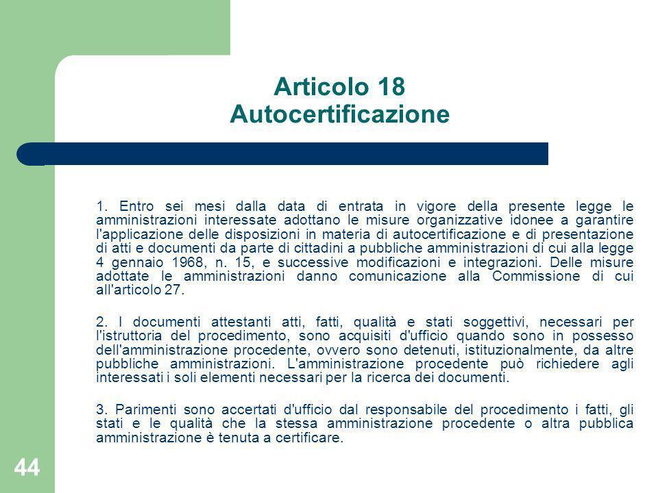 Articolo 18 Autocertificazione