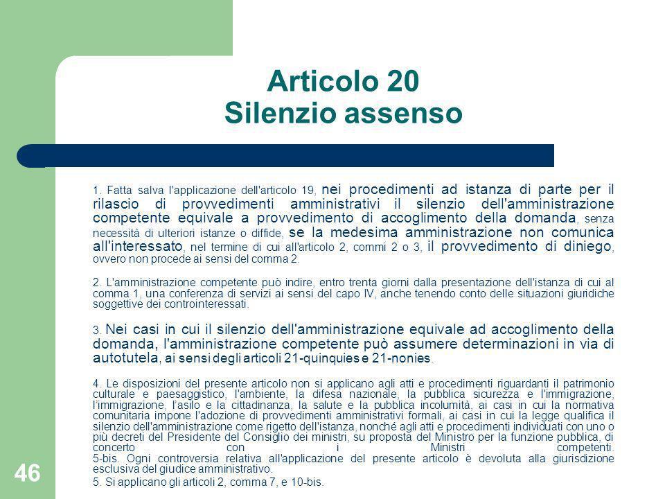 Articolo 20 Silenzio assenso