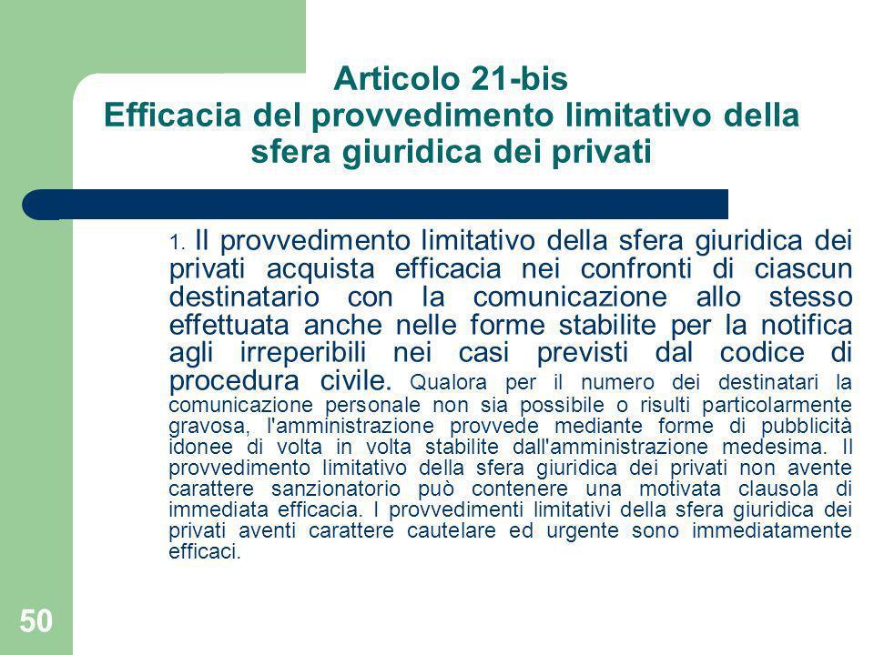 Articolo 21-bis Efficacia del provvedimento limitativo della sfera giuridica dei privati