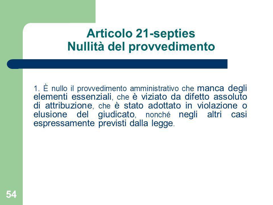 Articolo 21-septies Nullità del provvedimento