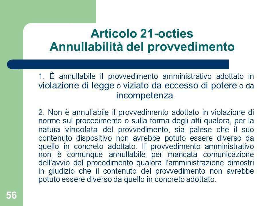 Articolo 21-octies Annullabilità del provvedimento