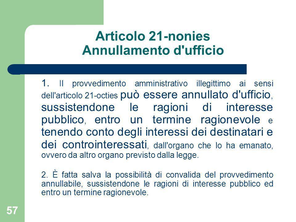 Articolo 21-nonies Annullamento d ufficio