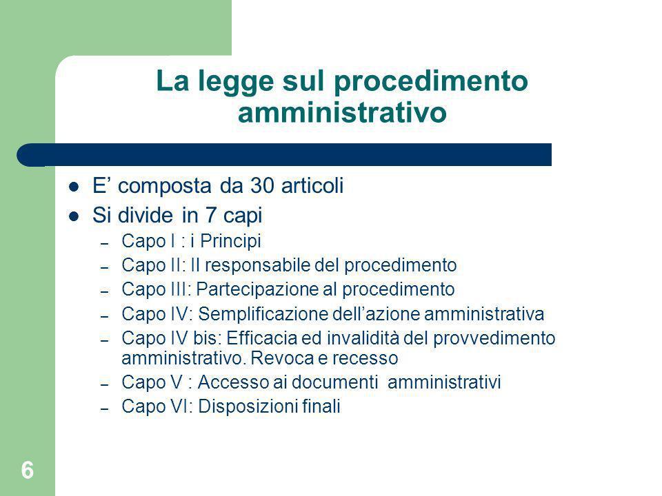 La legge sul procedimento amministrativo