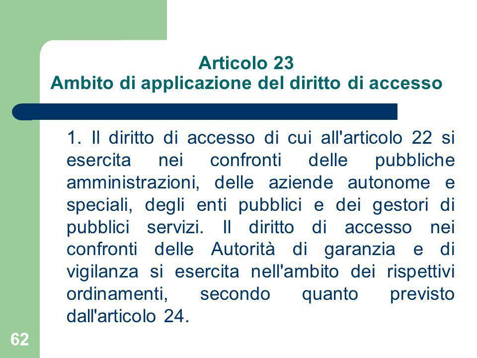 Articolo 23 Ambito di applicazione del diritto di accesso