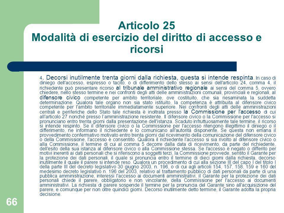 Articolo 25 Modalità di esercizio del diritto di accesso e ricorsi