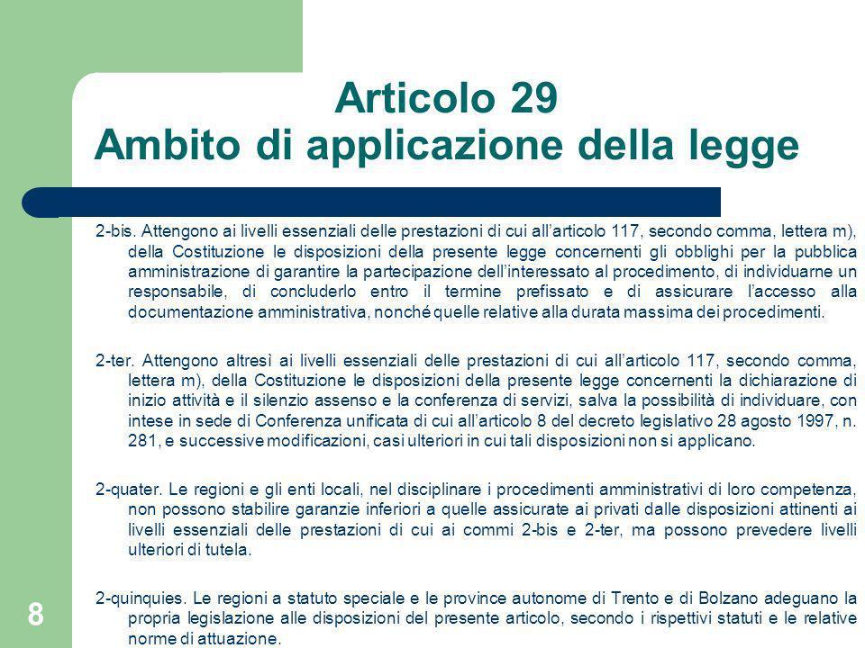 Articolo 29 Ambito di applicazione della legge