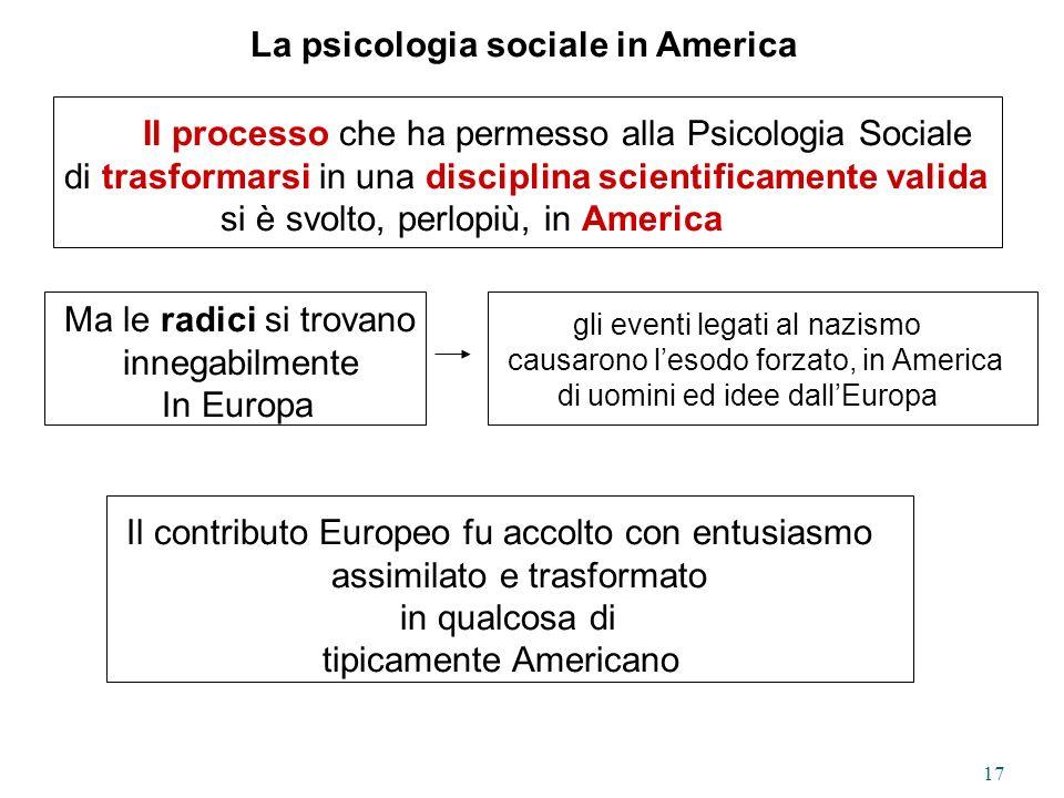 La psicologia sociale in America
