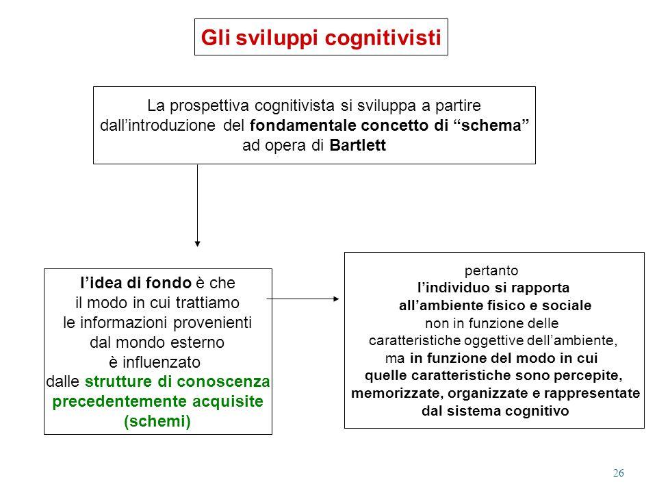 Gli sviluppi cognitivisti