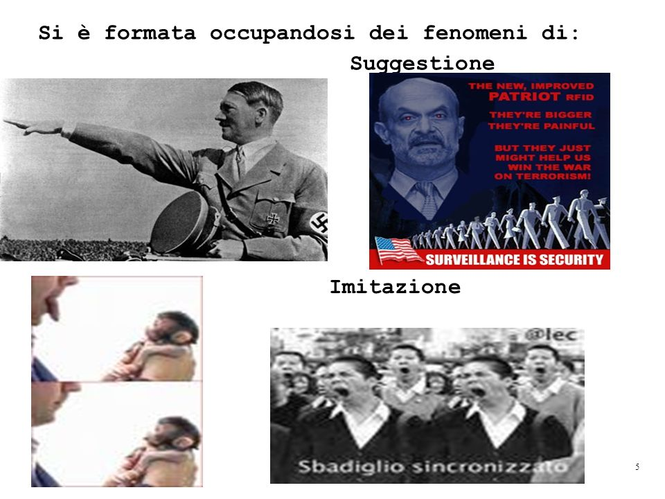 Si è formata occupandosi dei fenomeni di: Suggestione